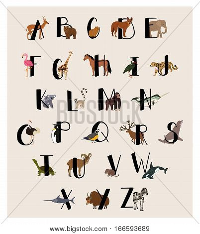 Cute animal alphabet set isolated vector illustration. ABC for kids education in preschool. Zoo animal alphabet with panda, elephant, turtle, flamingo, giraffe, whale, zebra, penguin. Animal alphabet concept. Vector animal alphabet with different animals.