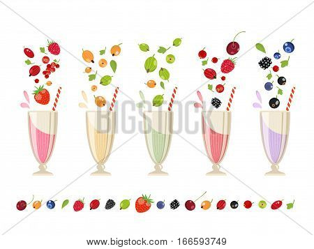 Berry milk shake isolated set vector illustration. Refreshing protein cocktail with berry, juicy fruit beverage. Cranberry, blackberry, raspberry, strawberry, gooseberry and currant milk shake in glass. Milk shake or milk coctail in cartoon style.