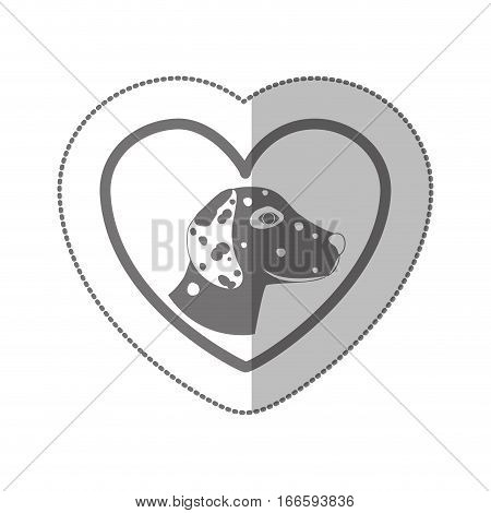 grayscale silhouette middle shadow sticker with dalmatian dog inside of heart vector illustration