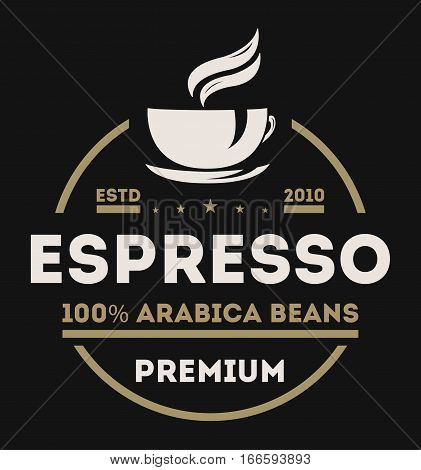 Coffee shop logo vector illustration. Espresso coffee icon symbol. Espresso coffee sign. Coffee shop logo emblem vector. Template of coffee shop logo for restaurant or bar menu. Espresso coffee logo or coffee stamps.