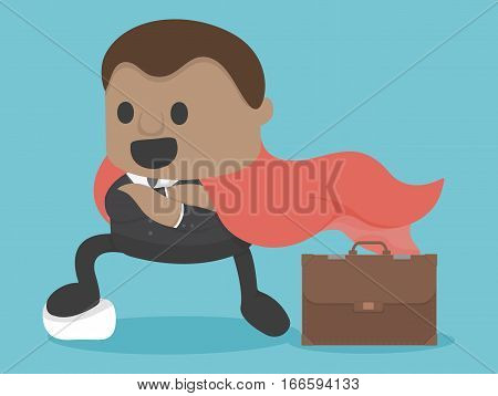 Businessman expressed confidence have red sheet and Document bag