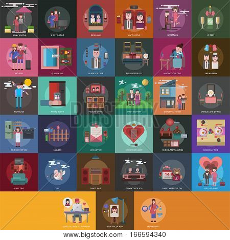 Valentine Conceptual Design | Set of great flat design illustration concepts for valentine, romance, holiday and much more.