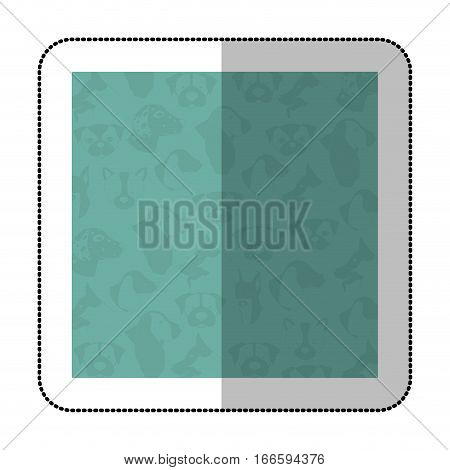 color middle shadow sticker with square with pattern of face dogs vector illustration