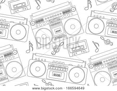 Seamless texture with the contours of the old tape recorders boomboxes cassette and musical notes. Vector background for design music site cards wallpaper and your creativity