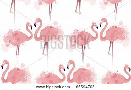 Seamless texture with delicate pink flamingos with watercolor splashes. Vector background fabric wallpaper background for your site and your creativity