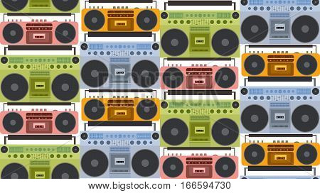 Seamless texture with colored flat old tape recorder and boombox in a row. Vector background for your creativity.
