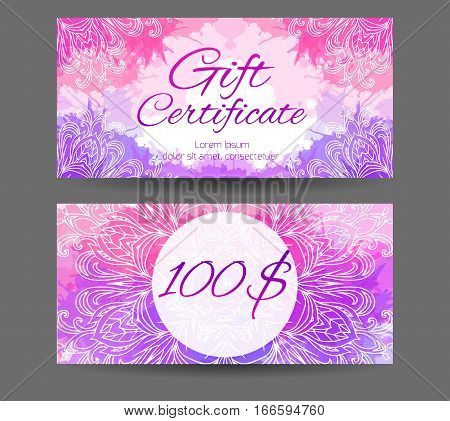 Template gift certificate for yoga studio spa center massage parlor beauty salon. Abstract pattern mandala with watercolor splashes