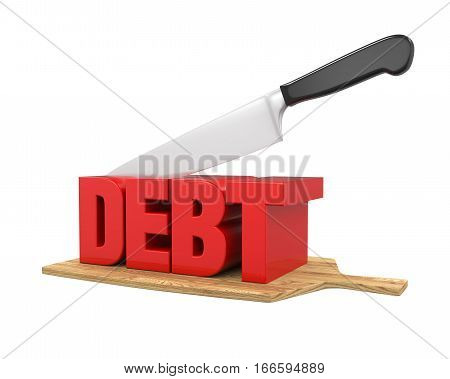 Debt Cuts Concept isolated on white background. 3D render