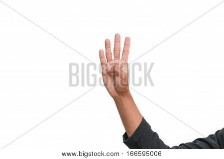 hand show counting number four on white background