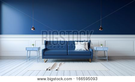 Modern interior of living room with armchairs on white flooring and dark blue wall .emptry room 3d rendering