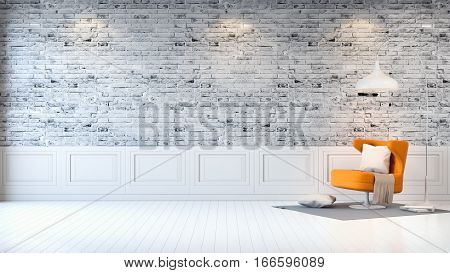 Modern loft interior living room white wood flooring yellow armchair and white lamp on bright gray bricks wall background 3d render