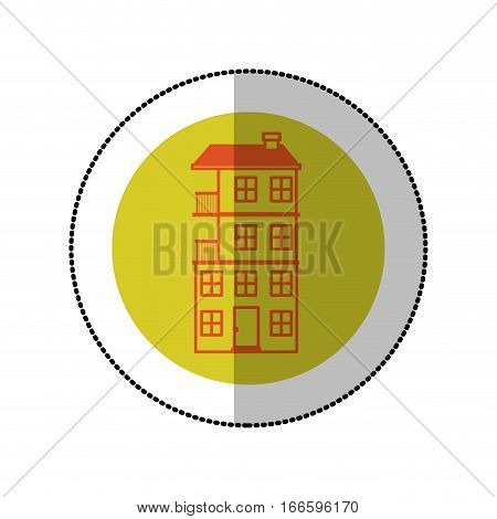 color image middle shadow sticker in circle with apartment with several floors vector illustration
