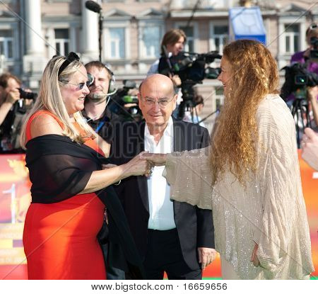 MOSCOW - JUNE,28: Tatiana Mikhalkova, Theodoros Angelopoulos And Phoebe Economopoulos. Closing Of 31st Moscow International Film Festival at Pushkinsky Cinema . June 28, 2009 in Moscow, Russia.