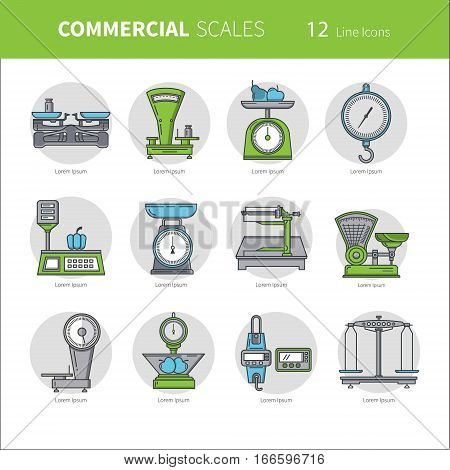 Set of vector icons of kitchen scales. Commercial scales. It can be used in business presentations as an element banner design web sites or printed materials.