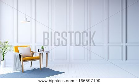 white room modern interioryellow arm chair with white table /3d rendering