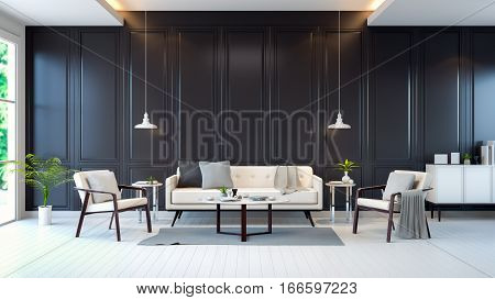 modern contemporary room interior white sofa and cabinet table on black wall  ,3d rendering