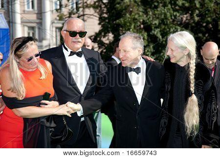 MOSCOW - JUNE,28: Tatiana Mikhalkova, Nikita Mikhalkov, Michael Mann with Wife. Closing Ceremony Of 31st Moscow International Film Festival at Pushkinsky Cinema . June 28, 2009 in Moscow, Russia.