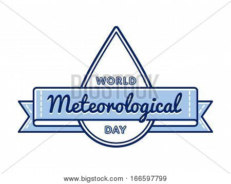World meteorological day emblem isolated vector illustration on white background. 23 march international holiday event label, greeting card decoration graphic element