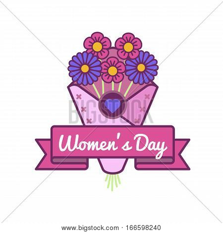 World Womens day emblem isolated vector illustration on white background. 8 march world feminine holiday event label, greeting card decoration graphic element
