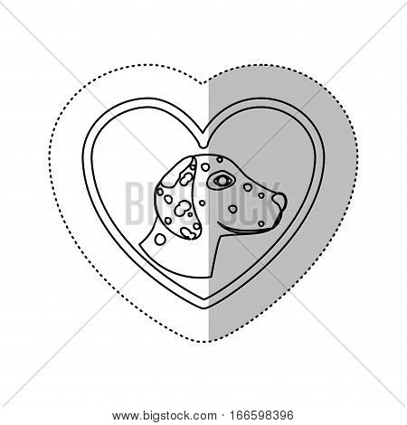 monochrome contour with middle shadow sticker with dalmatian dog inside of heart vector illustration