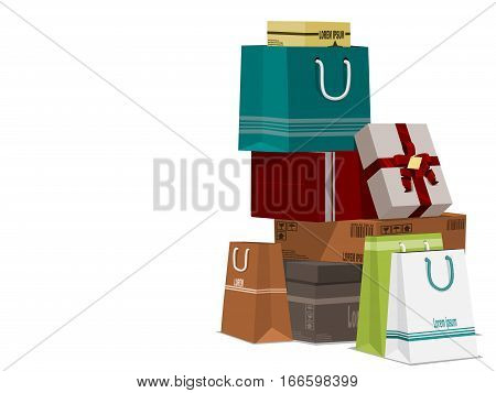 A pile of shopping on transparent background