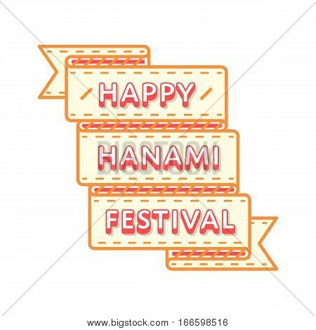 Japan Hanami Festival emblem isolated vector illustration on white background. 19 march traditional holiday event label, greeting card decoration graphic element