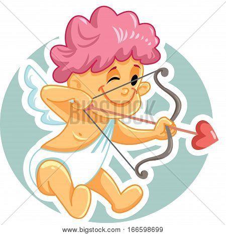 Cute Cupid with Bow and Arrow Vector Cartoon Illustration