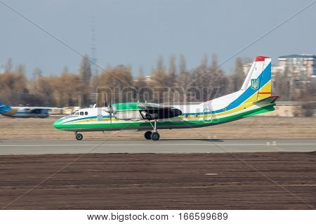 Kiev Ukraine - March 15 2011: Ukraine Border Guard Antonov An-24RV plane is taking off
