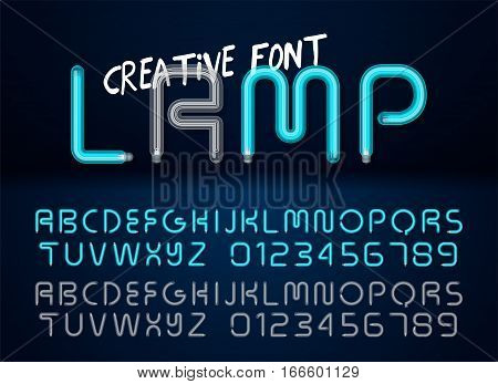 Creative realistic lamps font. Light Bulb Text Effect. Vector light bulb lamp alphabet isolated on dark background. Vector illustration