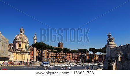 ROMA ITALY APRIL 11 2016 : Trajan's Column and Santa Maria di Loreto church Rome Italy Europe