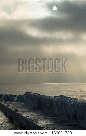 Gloomy morning at the Black sea coast near Odessa Ukraine
