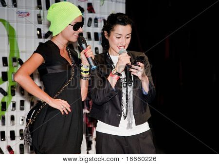 MOSCOW, RUSSIA, AUGUST,30: Russian Television Anchorwoman Tina Kandelaki and Irina Ponaroshky at the Action - Day Without a Cellphone,  August,30, 2009 at Moscow, Russia