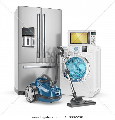 Set of household appliances. Isolated on white background 3d