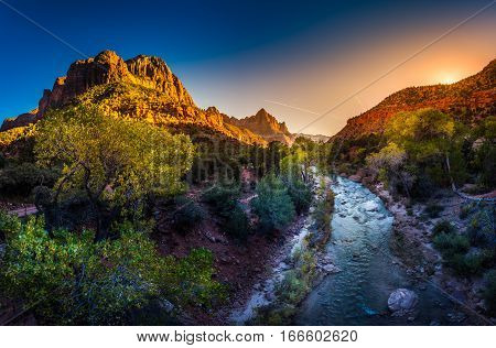 Zion National Park Virgin River And The Watchman At Sunset