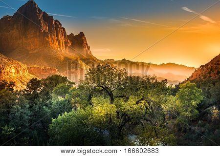 Zion National Park Foggy Autumn Sunset