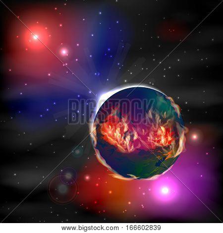Mars. Fiery Planet In Space. Illustration.