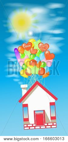 House on the balloons to fly the sky with the sun. Illustrations. Use for Website, phone, computer, printing, fabric, decoration design etc