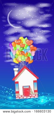House on the balloons to fly the sky with a month. Illustrations. Use for Website, phone, computer, printing, fabric, decoration design etc