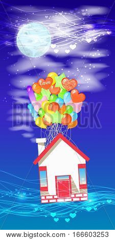 House on the balloons to fly the night sky. Illustrations. Use for Website, phone, computer, printing, fabric decoration design etc