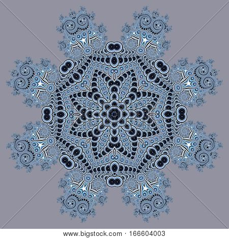 Fabulous openwork pattern in the form of snowflakes or lace napkins. Artwork for creative design art and entertainment.