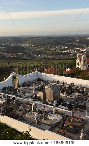 Cemetery and the city of Ourem Beiras region Portugal