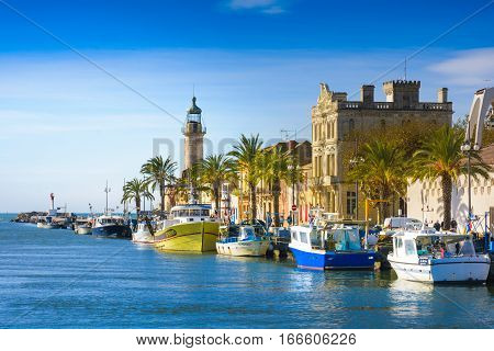 Grau Du Roi City And Harbor During A Sunny Day In France