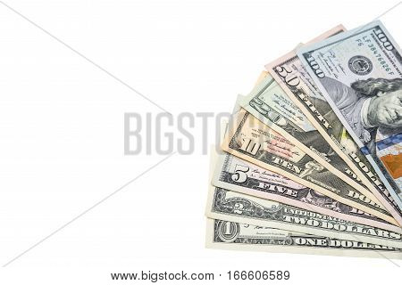 1 2 5 10 20 50 100 dollars bills isolated on white