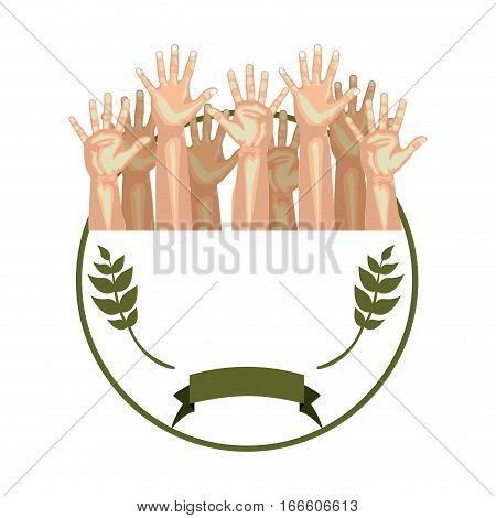 circular border with olive branch and multiple hands up vector illustration