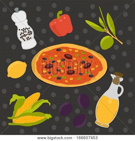 Vector set of food. Pizza, olives and more. Bon appetit!