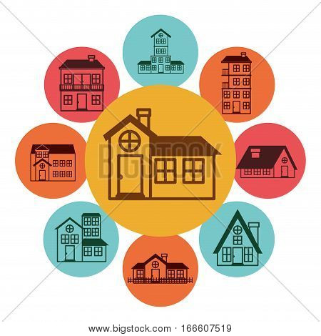 colorful ith houses logo design in bubbles vector illustration
