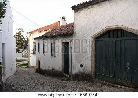 Street in the old town of Ourem (Cadeia neighborhood) Beiras region Portugal