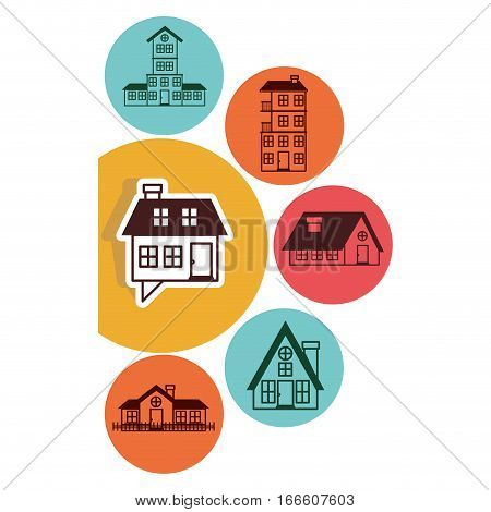 houses logo design in colorful bubbles vector illustration