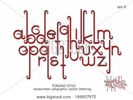 Vector alphabet set. Lowercase letters with decorative flourishes in the Art Nouveau forging style. Red letters with shadows on white background.