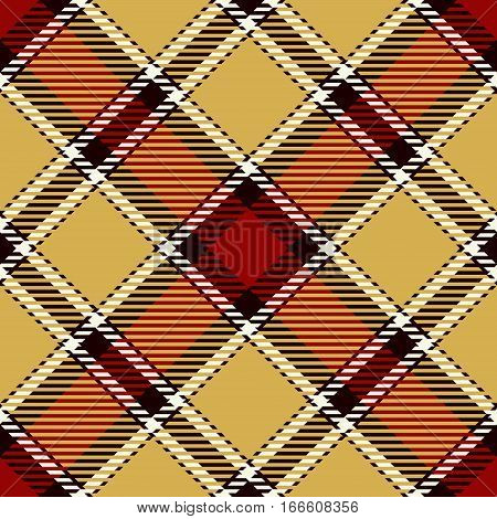 Tartan Seamless Pattern Background. Red Black Gold and White Plaid Tartan Flannel Shirt Patterns. Trendy Tiles Vector Illustration for Wallpapers.